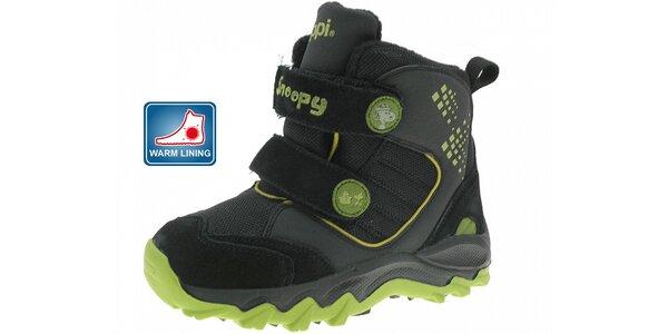 46d22d83d494 Dětské černé zimní boty Beppi se zelenými detaily