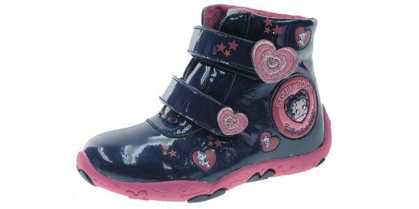 Dětské modré lakované botičky Beppi s růžovými detaily