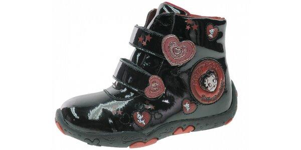 Dětské černé lakované botičky Beppi s červenými detaily