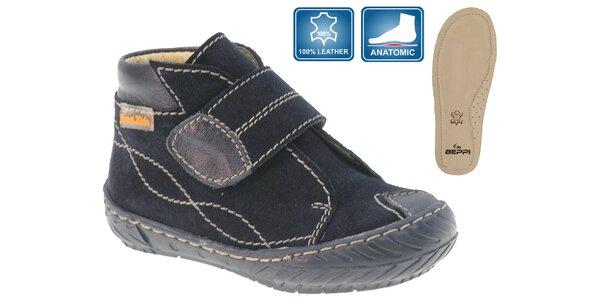Dětské tmavě modré kožené botičky Beppi