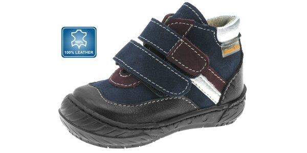 Dětské modro-černé kožené botičky Beppi s vínovými a stříbrnými proužky