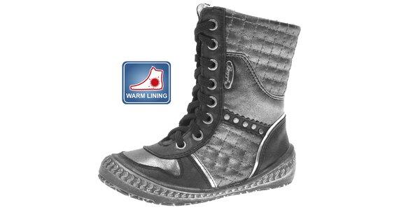 Dětské černo-stříbrné zimní boty Beppi