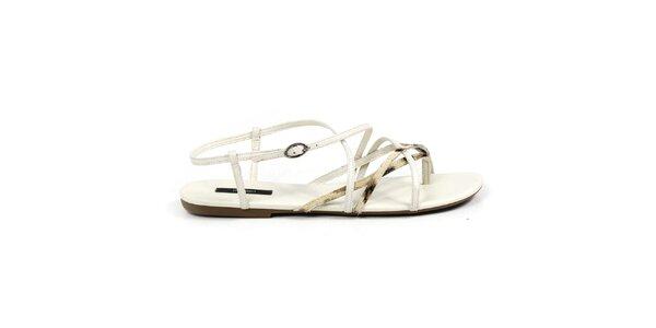 Dámské bílé sandálky se zlatými pásky Made In