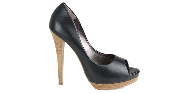 Dámské černé boty na vysokém podpatku Made In