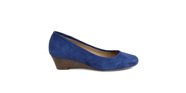 Dámské modré semišové boty na klínu Made In