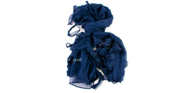 Dámský modrý hedvábný šátek Gianfranco Ferré