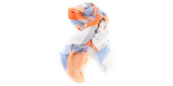 Dámský oranžovo-modrý hedvábný šátek Gianfranco Ferré