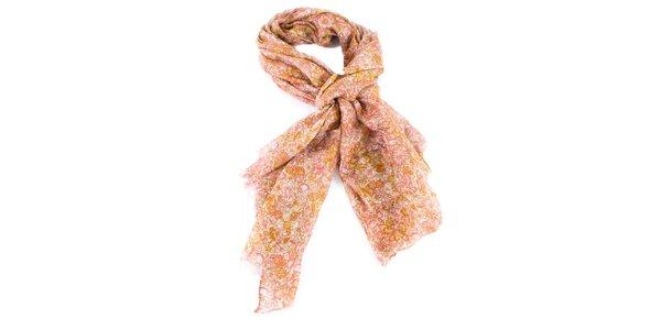 Dámský růžovo-oranžový květovaný šátek Gianfranco Ferré