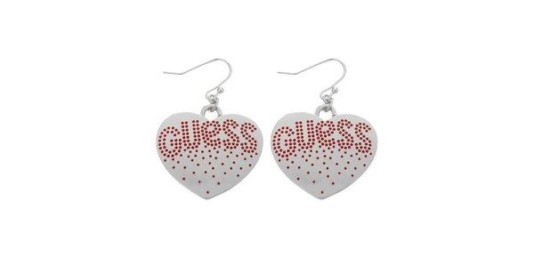 Dámské ocelové náušnice Guess srdce s červenými kamínky