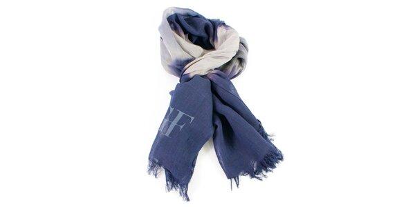 Modrý šátek s barevnými přechody Gianfranco Ferré