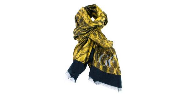 Žlutě vzorovaný šátek Gianfranco Ferré
