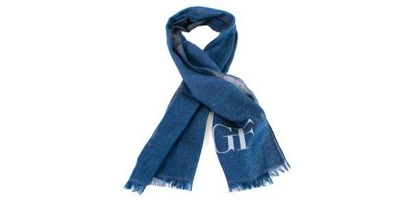 Modrý šátek s třásněmi Gianfranco Ferré