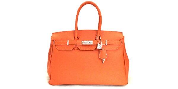 Dámská oranžová kožená kufříková kabelka Florence Bags