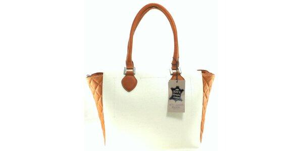 Dámská bílo-béžová prošívaná kabelka Florence Bags