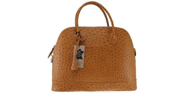 Dámská kožená hnědá kabelka v imitaci pštrosí kůže Florence Bags