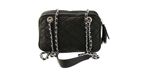 Dámská černá prošívaná kabelka s řetízkem Florence Bags