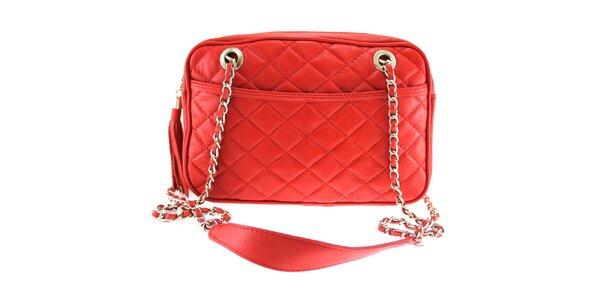 Dámská červená prošívaná kabelka s řetízkem Florence Bags