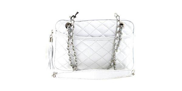 Dámská bílá prošívaná kabelka s řetízkem Florence Bags