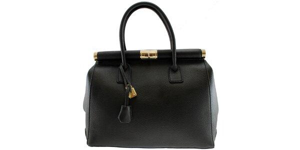 Dámská černá kožená kabelka se zlatým zámečkem Florence Bags