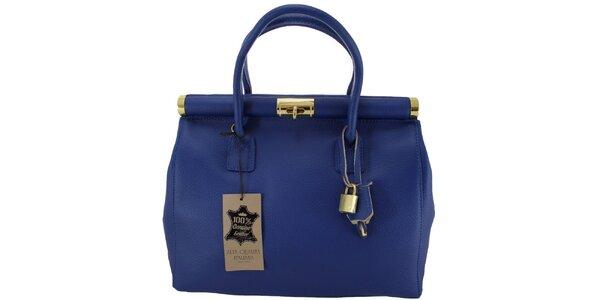 Dámská modrá kožená kabelka se zlatým zámečkem Florence Bags