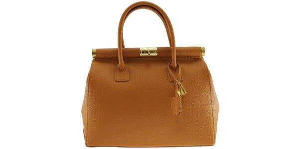 Dámská koňakově hnědá kožená kabelka se zlatým zámečkem Florence Bags