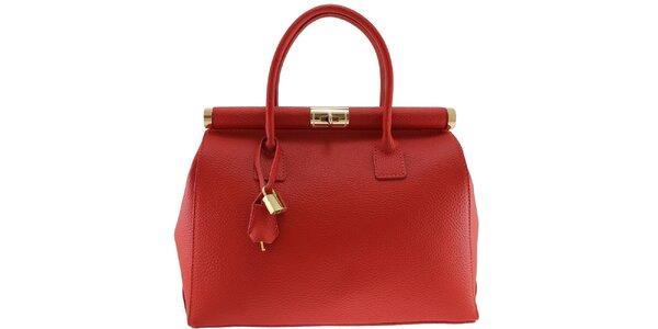 Dámská rudá kožená kabelka se zlatým zámečkem Florence Bags