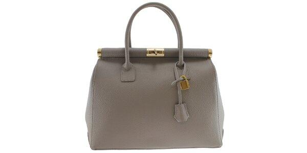 Dámská šedá kožená kabelka se zlatým zámečkem Florence Bags