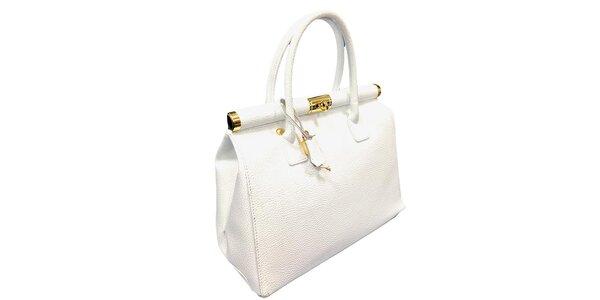 Dámská sněhově bílá kožená kabelka se zlatým zámečkem Florence Bags
