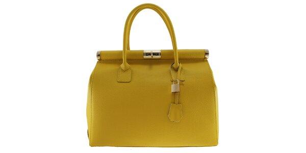 Dámská žlutá kožená kabelka se zlatým zámečkem Florence Bags