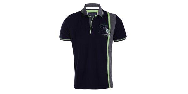 Pánské tmavomodré tričko se zeleným pruhem Signore dei Mari