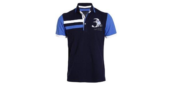 Pánské tmavomodré tričko s modrými rukávy Signore dei Mari