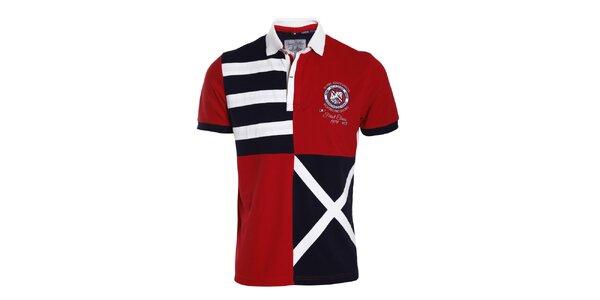 Pánské červeno-modro-bílé polo tričko se vzory Signore dei Mari