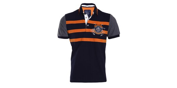 Pánské modré tričko s oranžovými pruhy Signore dei Mari