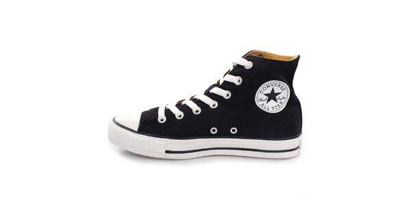 Černé kotníkové tenisky s bílými tkaničkami Converse