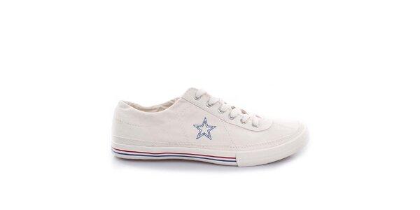 Smetanové nízké tenisky s modrou hvězdou Converse