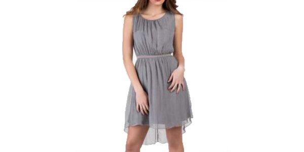 Dámské hnědošedé hedvábné šaty bez rukávů Keysha