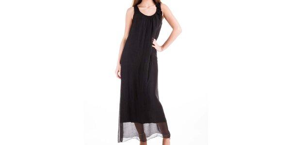 Dámské dlouhé černé hedvábné šaty Keysha