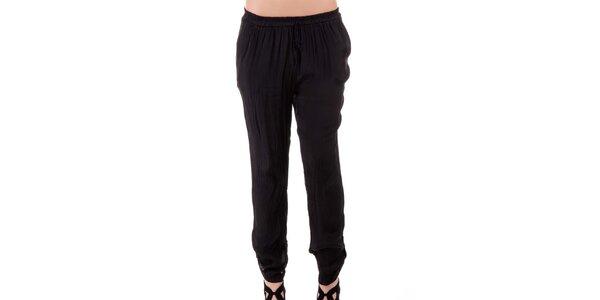 Dámské černé hedvábné kalhoty Keysha