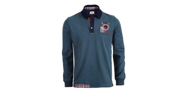 Pánské modrozelené polo triko s dlouhými rukávy Signore dei Mari