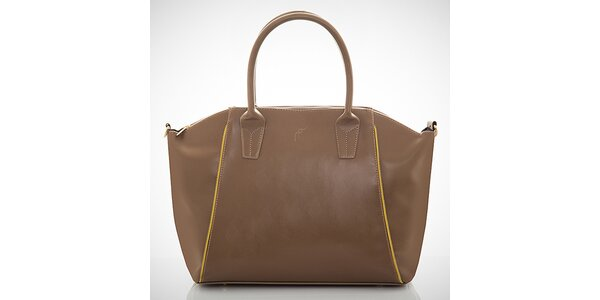 Dámská hnědá kabelka s kontrastními zipy Felice