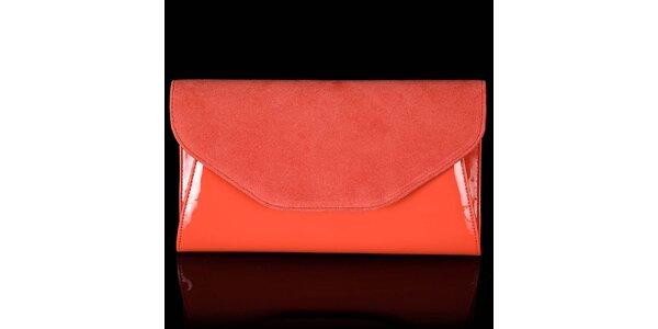 Dámské oranžové psaníčko Felice se semišovou klopou