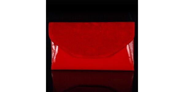 Dámské červené psaníčko Felice se semišovou klopou
