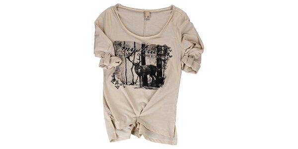 Dámské béžové tričko s jelenem Urban Surface