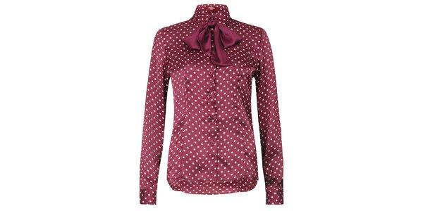 Dámská lesklá puntíkatá košile s mašlí Merc