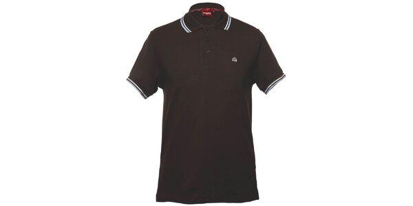Pánské hnědé polo tričko s ozdobnými pruhy Merc