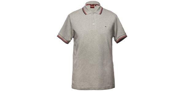 Pánské šedé polo tričko s ozdobnými pruhy Merc
