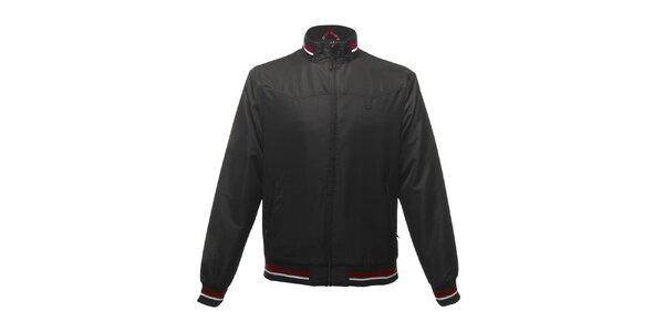 Pánská černá bunda s červenými pruhy Merc