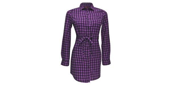 Dámské fialové kostkované košilo-šaty Merc