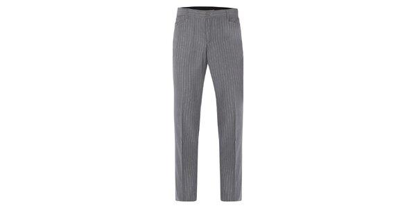 Pánské šedé kalhoty s puky a bílými proužky Merc