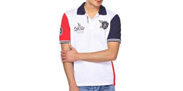 Pánské červeno-modro-bílé polo tričko M. Conte